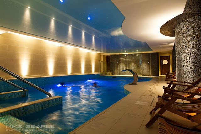 The swimming pool at the Headland Hotel in Cornwall, Interior photography by photographer Mike Searle