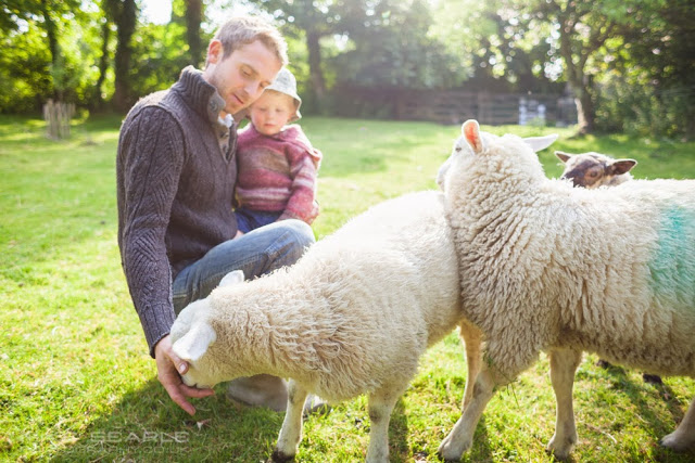 Farmer and son with sheep in field