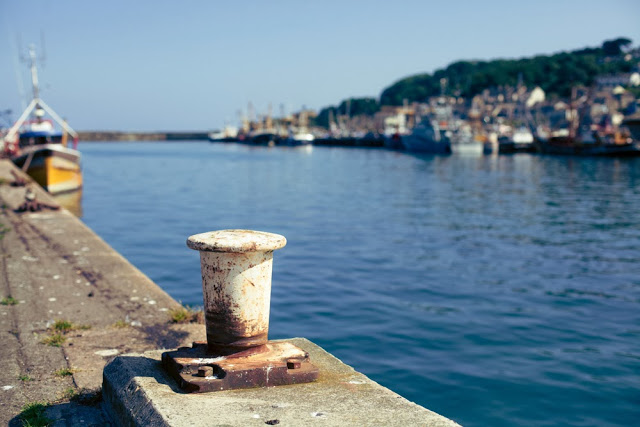 Bollard for mooring boats at Newlyn harbour