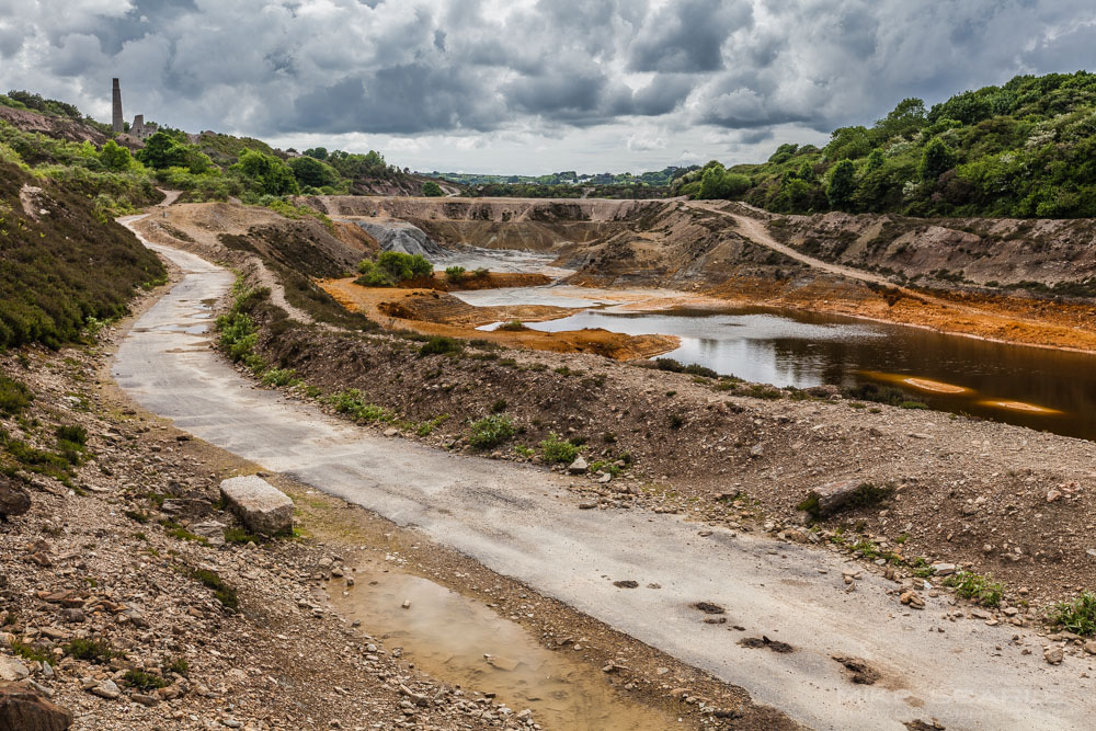 Dramatic image of disused mine workings in cornwall