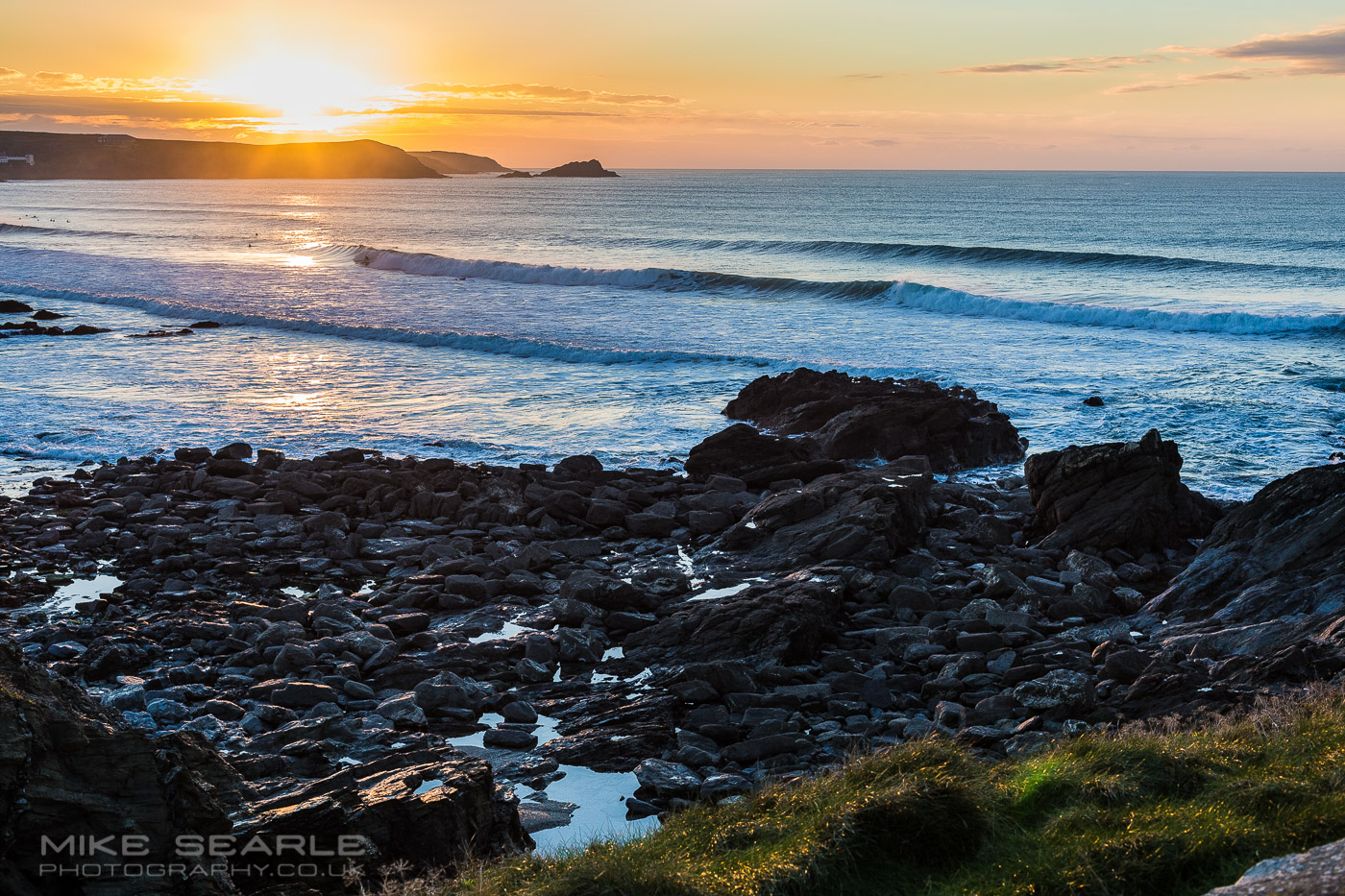 sunset at fistral beach newquay Cornwall