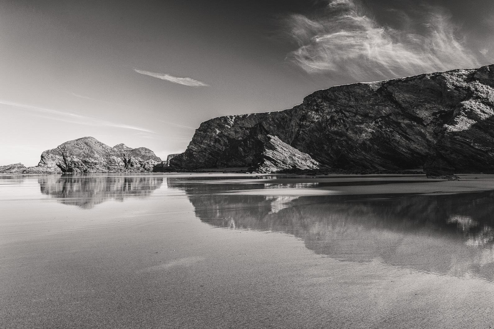 Watergate Bay black and wage photograph