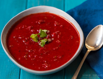 Very red roasted veg soup