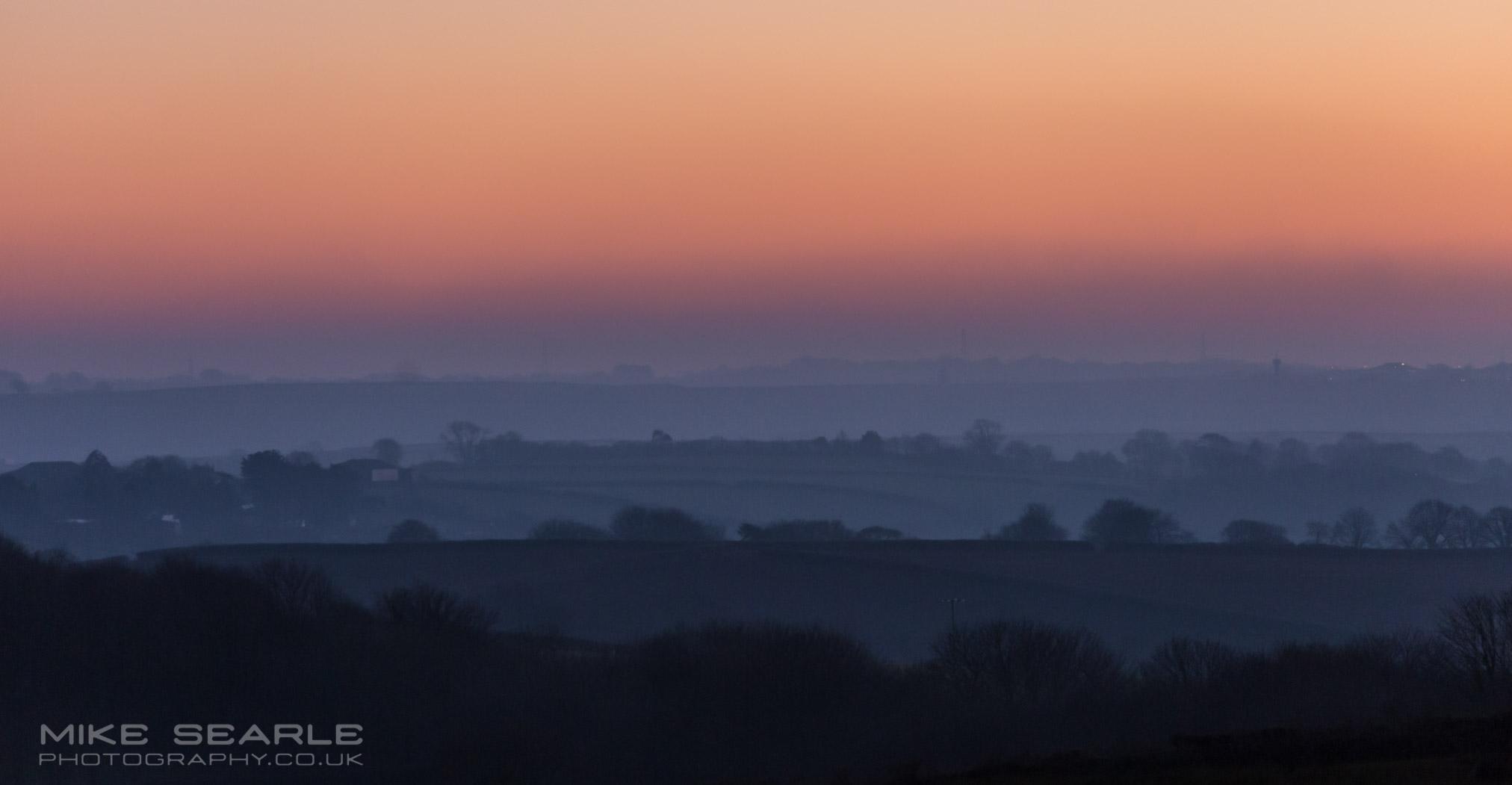 Dusk in Cornwall orange purple landscape photography