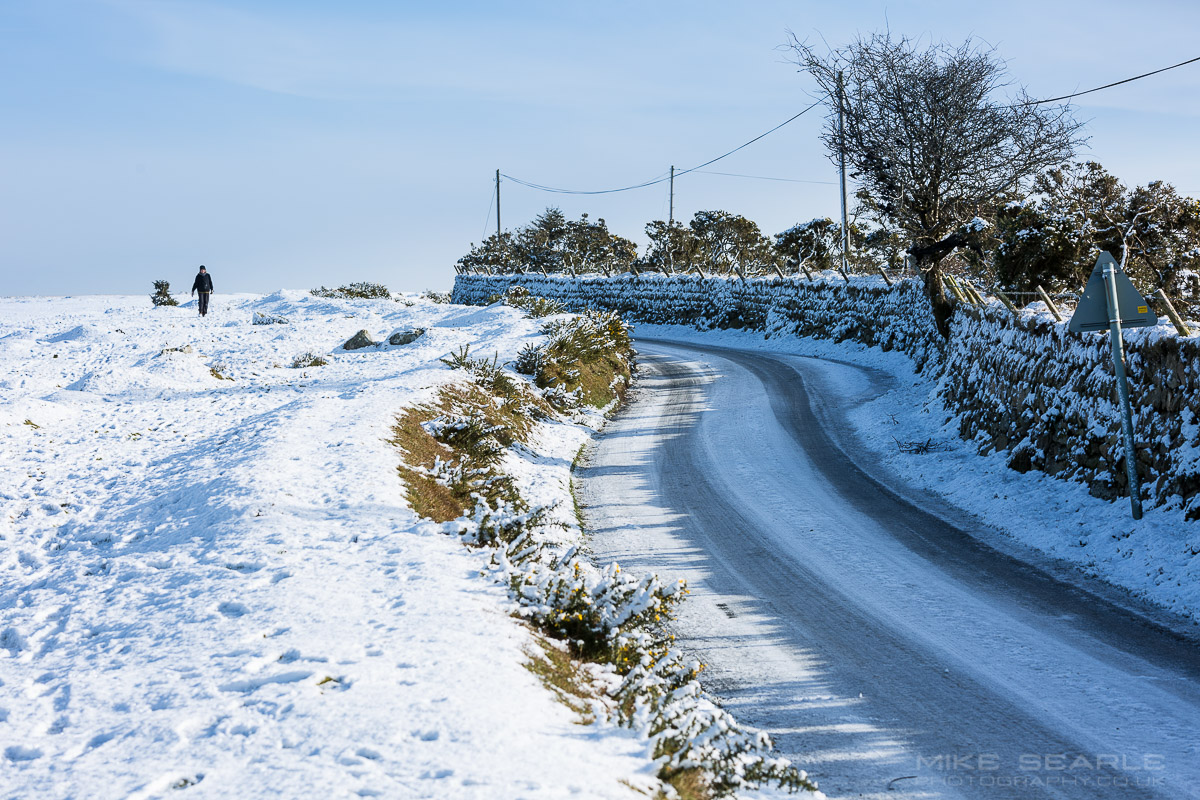 Bodmin Moor in snow in Cornwall