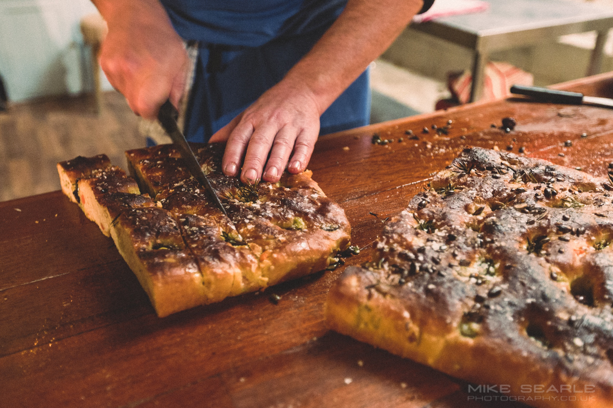 Olive, Sweet Potato and Rosemary Focaccia food photographer cornwall
