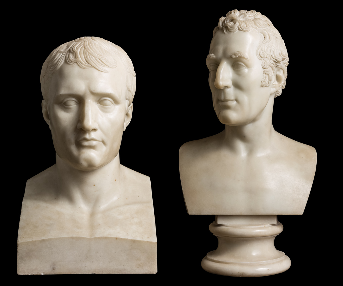 Old adversaries: busts of Napoleon and Wellington.
